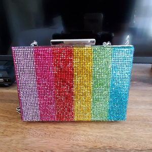 NEW Zara Rainbow Studded Clutch